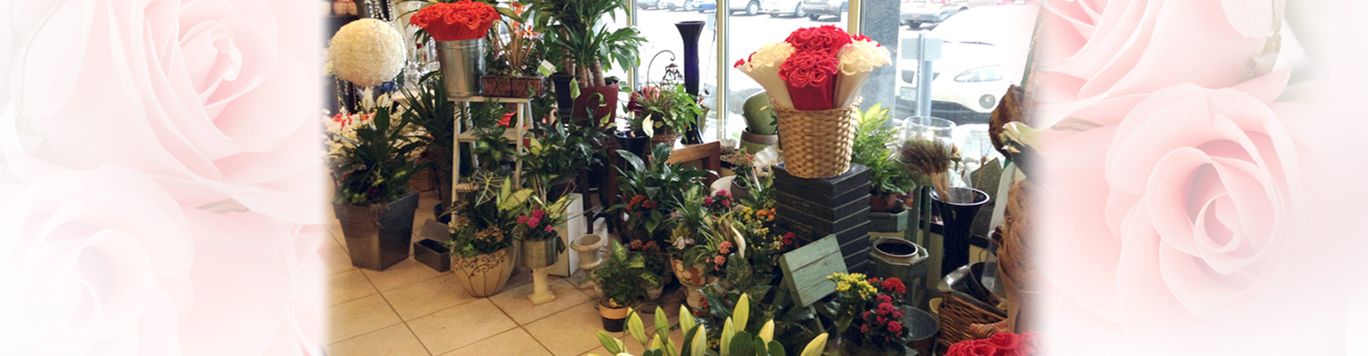 Store interior with flower displays