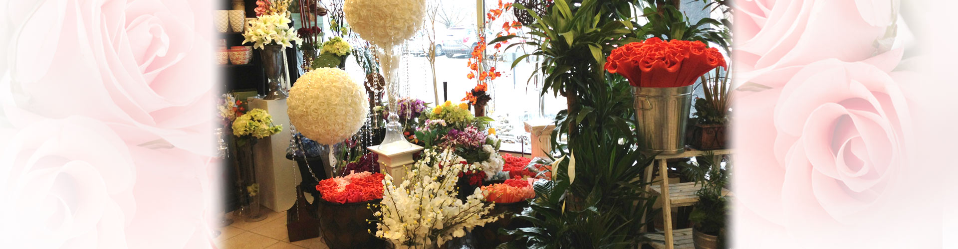 Store interior with flower arrangements and gifts