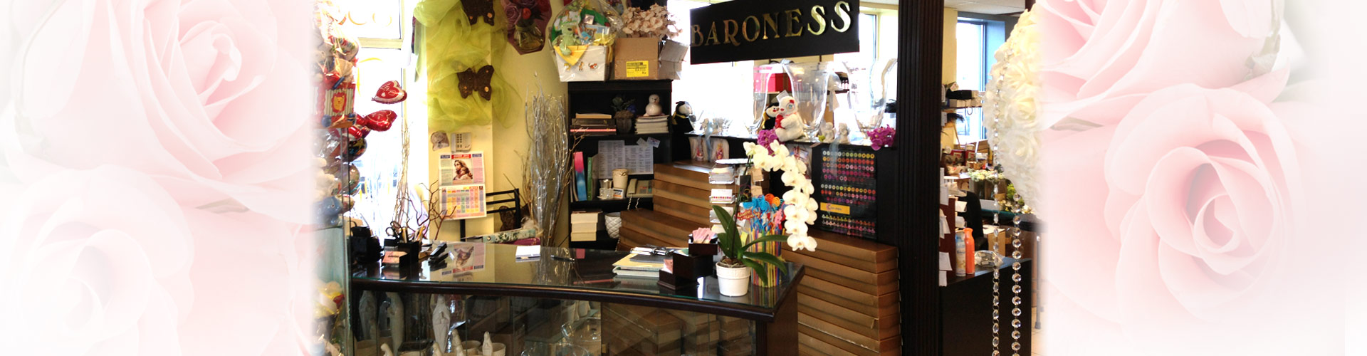 Store interior with showcase and decorations